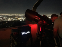 Love this shot, the telescope, the sign, and the city in the background.