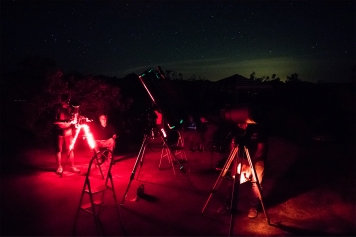 Telescopes set up on the campground, 5/3/2019