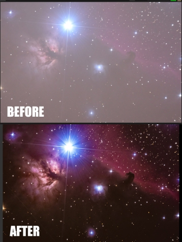 In the case of this straight 10 minute exposure for the Horsehead Nebula, The raw picture had to be fixed.