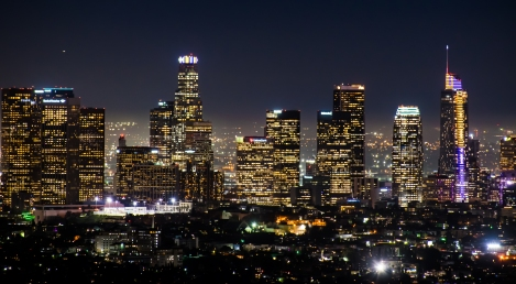 Downtown LA sports purple and gold in honor of Kobe Bryant's tragic death just a few days prior...