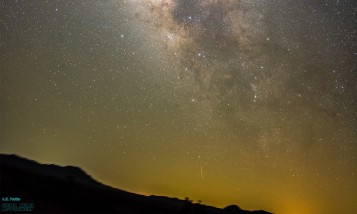 cropped milky way shot to show meteor