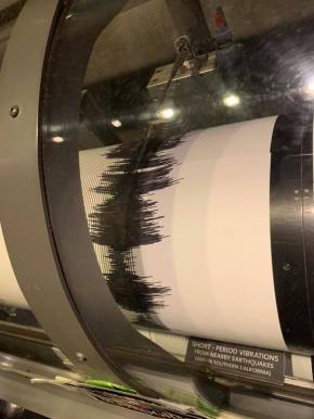 The seismograph just after the 7-5-2019 7.1 Ridgecrest Earthquake